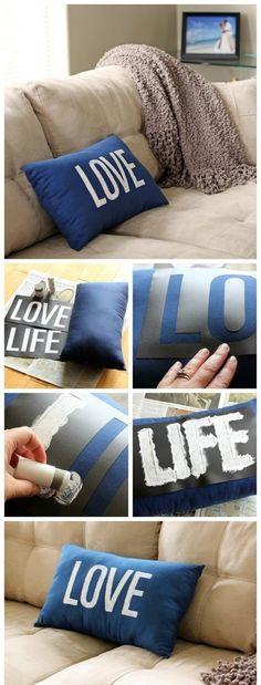 diy pillows Spruce up a boring old pillow. Simply stencil the word quot; on it and breathe new life into the pillow.svg and printable files included. Stenciled Pillows, Old Pillows, Sewing Pillows, Decorative Pillows, Cushions, Diy Throw Pillows, Diy Projects To Try, Home Projects, Diy Décoration