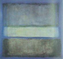 46.En las obras tardías, Rothko transmitió todo su significado a través de forma reductiva, color mínimo, el gesto pictórico, y la forma más oscura, la masa más pesada de color marrón o negro se encuentra con el más ligero, área generalmente más pequeño de la barra gris.En algunos, como Sin título (no. 42) el formato se asemeja a la de los anteriores cuadros, aunque los colores son más apagados.En otros,las superficies se cortan en dos y rodeado por un borde blanco estrecho.