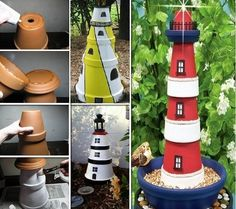 DIY Clay Pot Lighthouse Giving your garden a great look means hard work and dedication. It also means some degree of inspiration. Decorating with gnomes , Fairies or ocean projects, like this creative clay pot lighthouse.