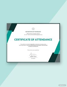 A modern and editable certificate of attendance template for your upcoming event. This template is well formatted and can be used for school or business events. Printable and can be downloaded for free. @Templatenet #Event #Certificate #Attendance