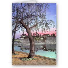 SOLD! Cool oriental japanese sunset watercolour painting cards $2.75