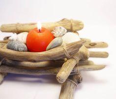 Driftwood candle holder  Beach centerpiece  by FeelFeltFelt, €23.00