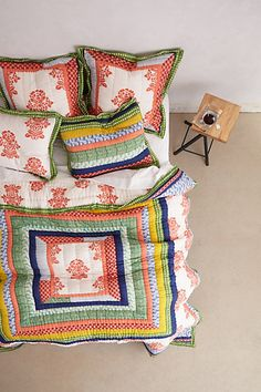 In honor of Anthro's 20th  anniversary, they patched together swatches of their favorite hothouse bedding from the last two decades to create the Jubilee Quilt. What you may not have heard is that the Jubilee, like all of their hothouse quilts, was a labor of love—read on for a step-by-step breakdown of how our most celebratory bedding came to be. http://blog.anthropologie.com/post/57794467684