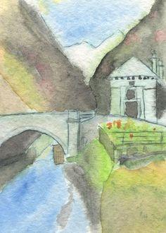 aquarell simplon gondoschlucht Graphic Novel, Comic, Painting, Art, Islands, Watercolor, Kunst, Pictures, Art Background