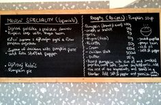 Pumpkin soup Pumpkin Soup, Chalkboard Quotes, Art Quotes, Bacon, Restaurant, Fresh, Butternut Squash Soup, Squash Soup, Diner Restaurant