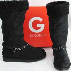 """NEW $60 G by GUESS Sz 5.5 Black Cuffed Boots Brand New in Box!     Retail $59.99     COLOR: Black     SIZE: 5•1/2     BRAND: G by GUESS    Style Name: HORIZAN     FEATURES: Casual Mid-calf to Knee High Winter Boots /  1"""" Heel  / Pull On Style / Round Toe / Suede fabric / Warm & Soft sherpa ~ shearling lining / Fold-Over Cuff (adjustable - can wear cuffed or uncuffed) / Chain accent detailing / Silver Metallic Logo on back heels G by Guess Shoes Winter & Rain Boots"""