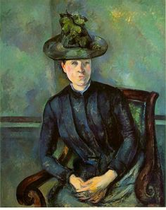 Woman in a Green Hat (Madame Cézanne): 1894-95 by Paul Cézanne (The Barnes Foundation, Philadelphia, PA) -  Post Impressionism