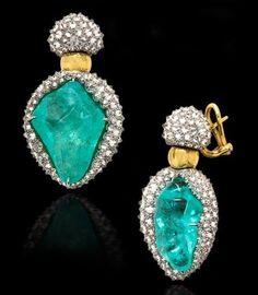 Nicholas Varney African Paraiba and Diamond Earrings
