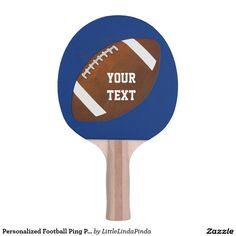 """Personalized Football Ping Pong Paddle, Your Color, Name or Text. CLICK"""" http://www.zazzle.com/personalized_football_ping_pong_paddle_your_color_ping_pong_paddle-256624046107301264?rf=238147997806552929 Fun gifts for football lovers and football fan gifts. See more unusual football stuff HERE: http://www.zazzle.com/littlelindapinda/gifts?cg=196532339247083789&rf=238147997806552929 Cool football gifts for many occasions. See the matching ping pong balls too."""