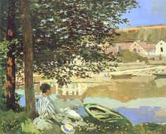 The Athenaeum - River Scene at Bennecourt (Claude Monet - )