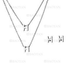 collar y aretes de H de plateado en acero inoxidable-SSNEG483487