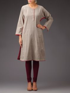 Buy Grey Gargoyle Peach Panel Khadi Kurta Women Kurtas Online at Jaypore.com