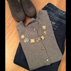 Grey 3/4 Sleeve Cardigan Great condition 3/4 sleeve cardigan. It is a great fitted cardigan to wear with a tank top or dress. Looks great with jeans too! Maurices Tops Button Down Shirts