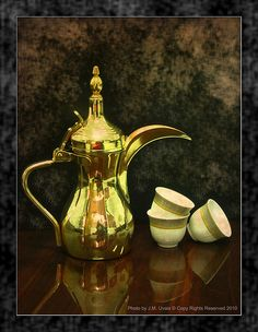 """Still Life Composition This is a traditional Arabic coffee pot made of brass and called """"Dallah"""" in Arabic. Widely used in the Arabian Peninsula. Arabic Coffee, Painting Still Life, Reception Rooms, Arabesque, Egyptian, Tea Time, Coffee Cups, Tea Pots, Afternoon Tea"""