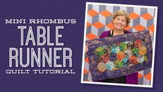 """Make a """"Mini Rhombus Table Runner"""" with Jenny Doan of Missouri Star (Video Tutorial) Msqc Tutorials, Quilting Tutorials, Quilting Tips, Machine Quilting, Tumbling Blocks Quilt, Quilt Blocks, Table Topper Patterns, Table Toppers, Charm Square Quilt"""