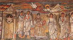 Annunciazione mosaico della navata di Santa Maria Maggiore a Roma, 432-440. I mosaici sono collocati entro pannelli sotto le finestre, in origine erano 42 e ne restano 27.