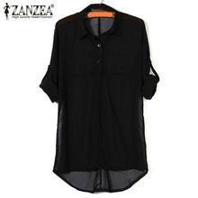 2015 New Fashion Womens Summer Long Batwing Sleeve Chiffon Shirt Turn-down Collar Loose Casual Solid Blouse Plus Size S-5XL Hot(China (Mainland))
