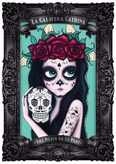 Girl with day of the dead face make up red roses on head holding a skull with art