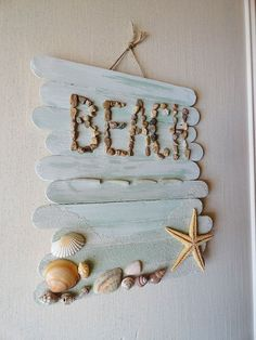 Beach crafts for kids. Seashell, sand, driftwood, rope and ocean themed summer beach crafts for adults. Crafts for beach wear and weddings. Make beach art. Home decorating seaside projects. Popsicle Stick Crafts For Adults, Popsicle Crafts, Popsicle Sticks, Craft Stick Crafts, Craft Sticks, Paint Sticks, Beach Crafts For Kids, Summer Crafts, Kids Crafts