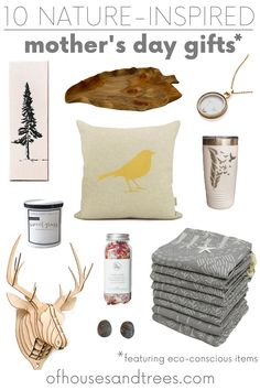 Looking for eco-friendly mother's day gifts? These 10 nature-inspired items are sure to delight the mother earth loving mother in your life - whether that be your mom, mom-in-law, grandma, sister - or yourself! Mom In Law, Bird Pillow, Nature Decor, Nature Inspired, Mother Earth, Cool Artwork, Gift Guide, Sustainable Products, Sustainable Design