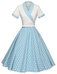 Amazon.com: GownTown Women1950s Printed -Dot-Floral Splicing Party Swing Dress: Clothing