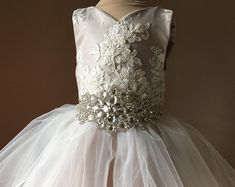 Items similar to Girls tutu dress for wedding bridesmaid flower girl birthday cream purple with back tulle and flower detail lined crochet top on Etsy Tulle Flower Girl, Tulle Flowers, Flower Girl Dresses, Wedding Bridesmaid Flowers, Wedding Dresses, Girls Tutu Dresses, Dress With Bow, Vintage Dresses, Lace