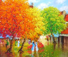Rain in Hanoi by Duong Ngoc Son ... View more informations and his paintings at www.eyegalleryvn.com