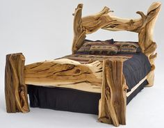 Rustic Furniture - Juniper Bed  The artisans of Woodland Creek create functional works of art. Each bed is guaranteed to bring a smile every time you study its inherent character and beauty.
