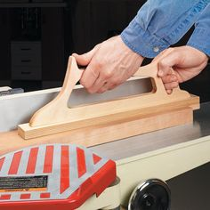 Jointer Push Block: I've found that a push block that both pushes and holds down the workpiece on the jointer isn't easy to find. So I decided to make my own.