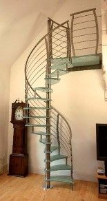 Glass Spiral Stairs, Glass staircases with glass steps & stainless steel