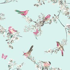 Beautiful Birds Duck Egg Wallpaper Dunelm - This Duck Egg Blue Wall Paper Is Decorated With A Colourful Bird And Floral Design And Is Finished With A Matt Effect Skip To Search Duck Egg Blue Brand Dunelm Care Instructions Wipe Clean W Living Room Floral Wallpaper, Bathroom Wallpaper Birds, Kitchen Wallpaper, Green Wallpaper, Pattern Wallpaper, Bedroom Wallpaper, Duck Egg Blue Wallpaper, Wallpaper Uk, Beautiful Wallpaper