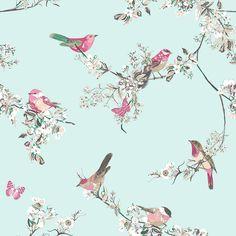 Beautiful Birds Duck Egg Wallpaper | Dunelm