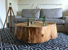 table basse tronc rondin 1 mètre sur roulettes discrète. Création Le Meuble du Photographe