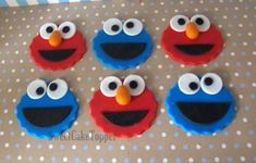 Elmo and Cookie Monster Inspired Cupcake Topper - Handmade Edible Fondant Cupcake Topper - 12 Pcs Fondant Cupcakes, Elmo Cupcakes, Cookie Monster Cupcakes, Elmo And Cookie Monster, Valentine Cupcakes, Pink Cupcakes, Elmo Cake, Cupcake Cakes, Edible Cake Toppers