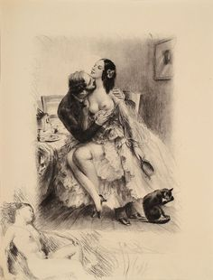 Paul Emile Bécat, 1885-1960, convolute of three etchings on hand-made paper, from: H. Burger - Scènes de la vie de Bohème, nudes, sheet size each approx 22x17 cm, PP, total approx 30x24 cm ********************************************************************************************In our auction you will find modern and contemporary paintings in oil, acrylic, gouache or mixed media and beautiful drawings in watercolor, pastel, charcoal, ink or pencil. They are laid on canvas, cardboards…