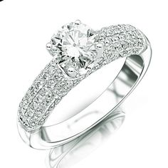 Contemporary Four Row Pave Diamond Engagement Ring with a 0.74 Carat F SI1 GIA Certified Center Stone and 0.65 Carats of Side Diamonds (1.39 Cttw), Nikash Diamonds