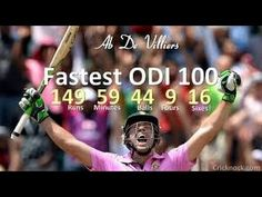 video of ab de villiers hitting 149 runs of 44 balls worlds fastest century world record batting performence aganist west indies Ab De Villiers, Me On A Map, Abs, Baseball Cards, Cricket, Music, Youtube, Europe, Fire