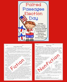 Election Day Activities: Reading Comprehension Passages About Voting and Election Day. This also has close reading activities. Great for reading and social studies!