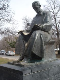 Nikola Tesla Monument in Niagara Falls State Park, NY, by Croatian sculptor Frano Kršinić. 1976, bronze with patina on marble base. Gift from the people of Yugoslavia to the United States. Inscription reads: To Commemorate One Hundred and Twentieth Anniversary of Nikola Tesla's Birth and Two Hundred Years of American Independence. An identical monument to Tesla stands outside the School of Electrical Engineering at the  University of Belgrade, Serbia. Photo from TeslaSociety.com.