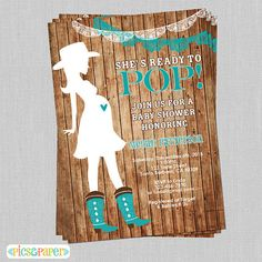 She's Ready to Pop! Western Theme in Teal, Pregnant Cowgirl Theme, Baby Shower Invitation Rustic with Lace, Digital or Printed