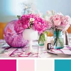 teal and fuschia wedding centerpieces   Fuschia, Light Pink, White and Teal Color Palette