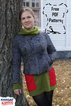 Sew yourself a classy city coat with this free pattern.   Download PDF for free, or order a printed version.  Sewing instructions in Finnish included. Free Pattern, Classy, Graphic Sweatshirt, Patterns, Sewing, Printed, Sweatshirts, Coat, Sweaters
