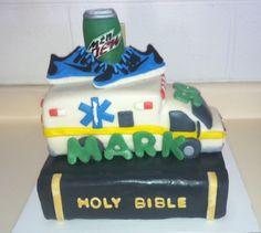 Bible/ambulance cake!