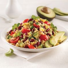 Mexican-style quinoa salad rnrnSource by Mexican Food Recipes, Healthy Recipes, Ethnic Recipes, Healthy Food, Quinoa Gluten Free, Vegetable Stock Cubes, Quinoa Salat, Pomegranate Salad, Food Tags