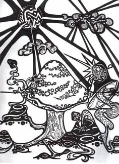 Trippy Coloring Pages   page from my coloring book by ~ razorblade-butterfly