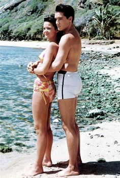 """Short shorts!!  Elvis and Joan Blackman during the filming of """"Blue Hawaii"""", 1961."""