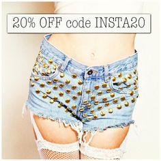"@omeneye's photo: ""Use the 20% OFF code on OMENEYE.COM. Get shorts for only $70!! #fashion #style #highwaisted #vintage #cutoffs #omeneye #studdedshorts #studded #shorts #LA #want #hipster #girl #hot #2013 #coachella #coachella2013"""