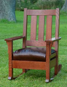 Stickley inspired oak mission style rocking chair. Made by an American craftsman. Love it!