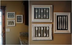 Put old silverware to good use. Vintage wall hangings in kitchen; must do this!