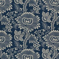Montbard in Blueberry from Brunschwig & Fils #fabric #linen #cotton #blue #floral